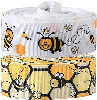1.5\u201d Bees Ribbon Craft Supplies Printed Ribbon Grosgrain Ribbon 78 Hairbow Making Supplies Bumblebees and Honeycomb