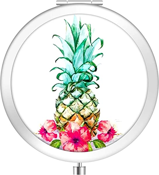 IMLONE Round Silvery Pineapple Compact Purse Mirror With 2X Magnification Portable Folding Makeup Mirror Great Choice And Best Gift For You And Your Friend