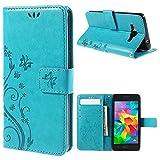 jbTec Handy Hülle Hülle Schmetterlinge passend für Samsung Galaxy Grand Prime - Schutz Tasche Smartphone Flip Cover Phone, Farbe:Türkis