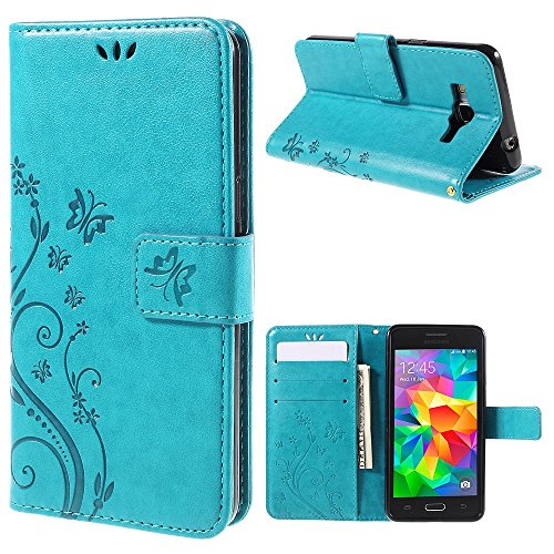 jbTec Handy Hülle Case Schmetterlinge passend für Samsung Galaxy Grand Prime - Schutz Tasche Smartphone Flip Cover Phone, Farbe:Türkis