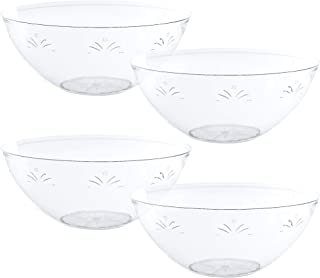 Plasticpro Disposable Round Serving Bowls, Party Snack or Salad Bowl, Small, Plastic Crystal Clear Pack of 4