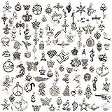 100 Teile gemischte Charms versilbert DIY Halskette Armband Anhänger für Schmuckherstellung