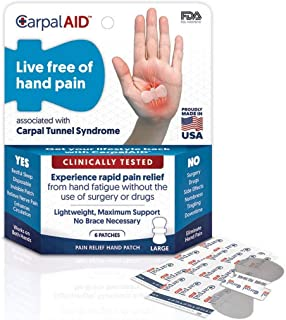 Carpal AID,  Functional Support for Carpal Tunnel Syndrome - Best Carpal Tunnel Brace for Ultimate Relief,  Count 6 - Size Large