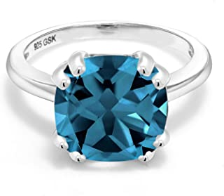 Gem Stone King 925 Sterling Silver London Blue Topaz Women's Engagement Ring (4.35 Cttw, 10MM Cushion Cut, Gemstone Birthstone, Available 5,6,7,8,9)