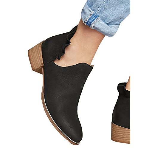 Womens Ruffled Ankle Booties Chunky Low Heel Cut Out Slip-on Pointed Toe Western Shoes
