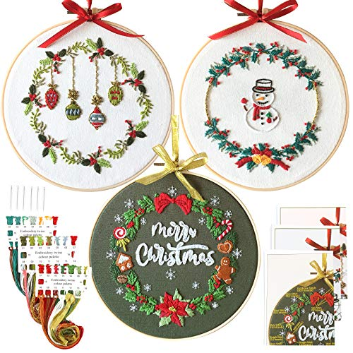 Uphome 3 Sets Embroidery Starter Kit Stamped Embroidery Kits Christmas Floral Pattern Cross Stitch Set DIY Needlepoint Kit with Hoops and Cloths for Beginners Adults Kids Wall Decor