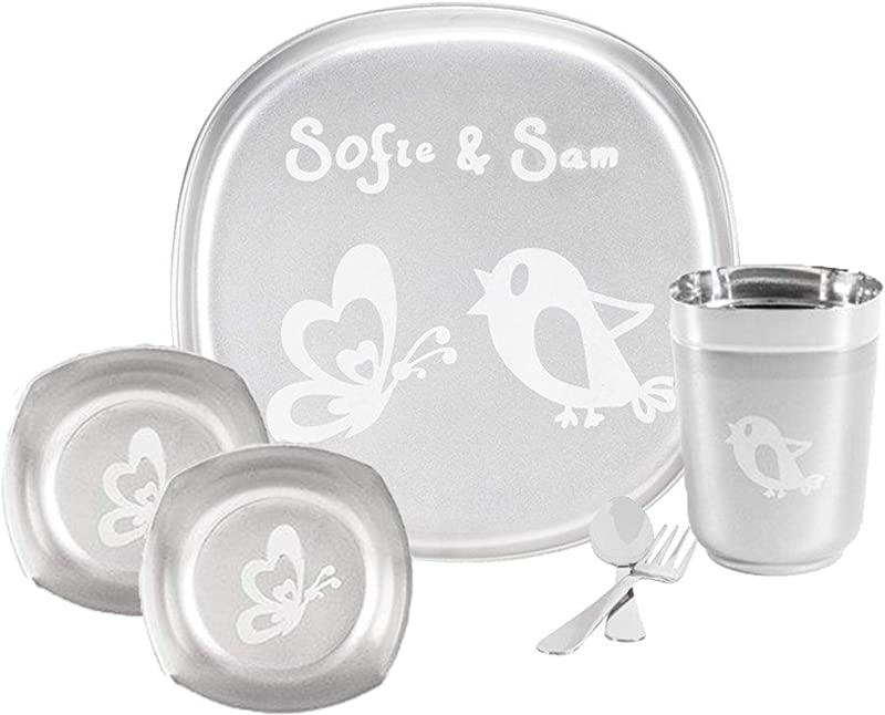 Sofie Sam Premium 6pcs Stainless Steel Square Plate Bowl Glass Cutlery Baby Feeding Dinner Set