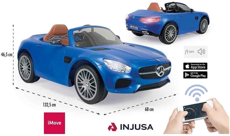 INJUSA–Auto Mercedes Benz GT A Batterie 6V mit Mrsche und Fernbedienung Special Edition für Kinder von 3Jahren mit Licht und MP3, Blau, (7172)