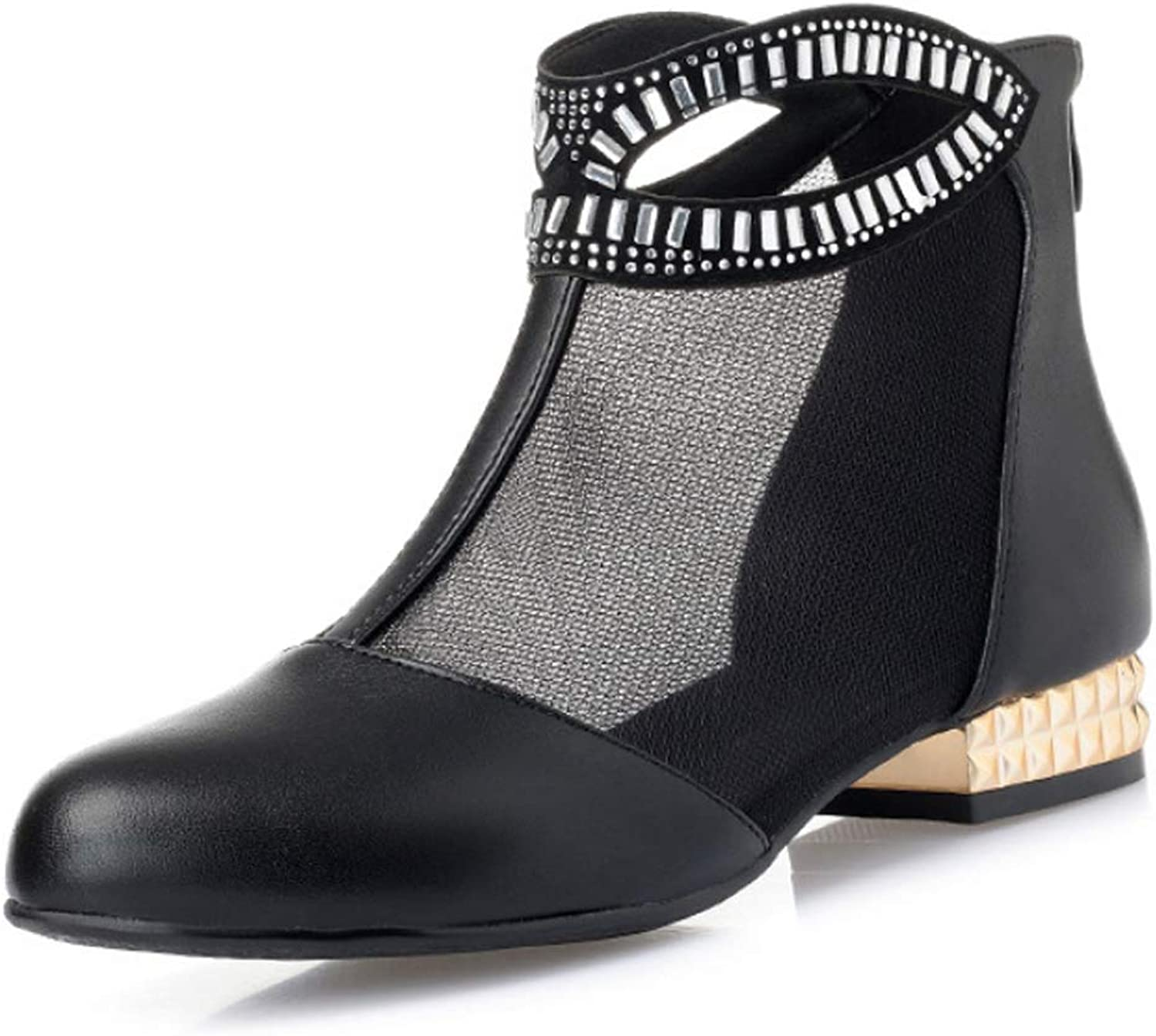 Women's Breathable Chelsea boots Rhinestone Mesh Leather shoes Casual Sandals Ankle Boots