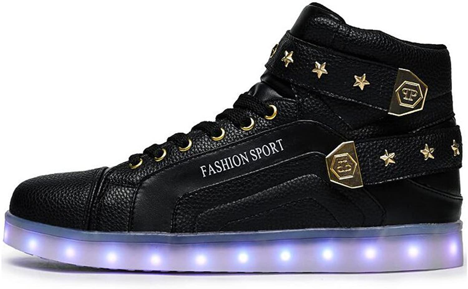 HUAN LED shoes LED Mens Casual shoes Womens HighTop Sneakers Ghost Step Dance shoes Couples shoes