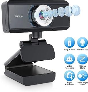EIVOTOR ウェブカメラ フルHD WEBカメラ 30fps 美顔機能 ウェブカム ストリーミング 高画質 パソコン用 マイク内蔵 ビデオ通話 skype会議 (1080P)