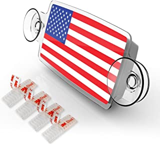 AutoBoxClub US Flag - New EZ Pass, IPass Tag Holder/Transponder Holder/Toll Pass Windshield Mount/Genuine Reclosable Mounting Strips Included/UV-Protective/Installs in Seconds
