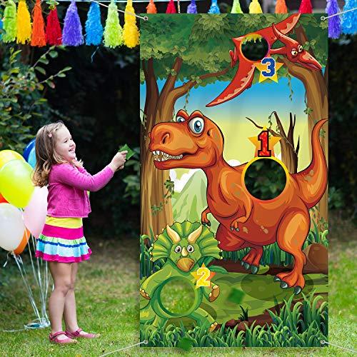 Blulu Dinosaurier Party Lieferungen Geburtstag Dekorationen Dinosaurier Party Lieferungen Dinosaurier Werfen Spiele mit 3 Grün Nylon Sitzsäcken Spaß Sitzsack Spiel Sets