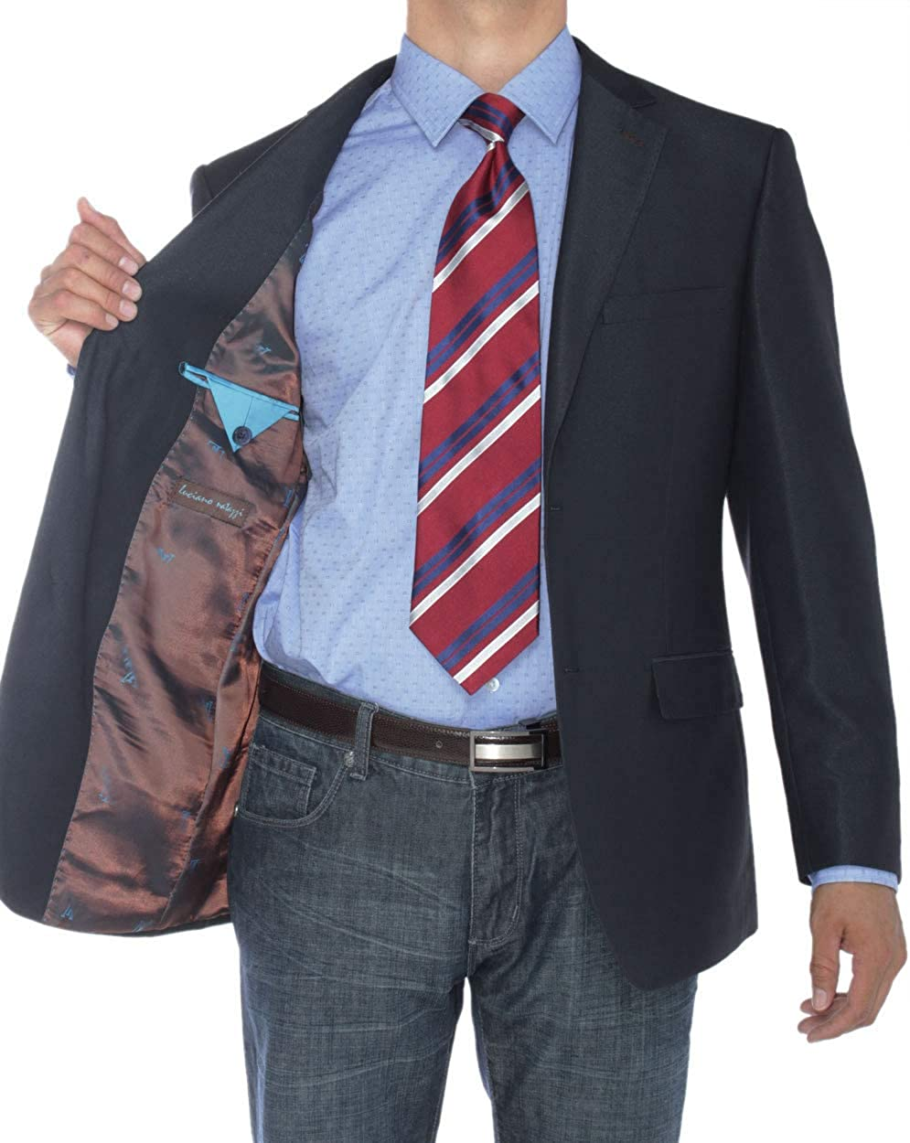 Luciano Natazzi Men's Two Button Modern Fit Suit Jacket Notch Lapel Blazer Coat