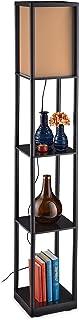 Relaxdays Lampe sur pied étagère, lampadaire, 3 étages, lampe de plancher, moderne, HxLxP 159 x 26 x 26 cm, noir-brun