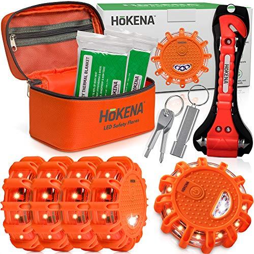 HOKENA LED Road Flares Roadside Emergency Kit - 5 Pack Roadside Safety Discs w/Emergency Blanket, Window Breaker Seatbelt Cutter Tool, Premium Road Flare Storage Bag & More