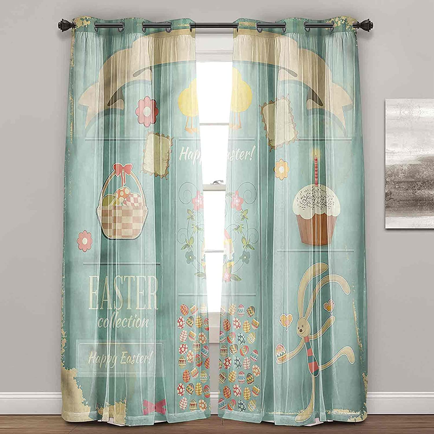 Financial sales sale Window Curtains for List price Bedroom Easter Eggs Rus Basket and Cupcake