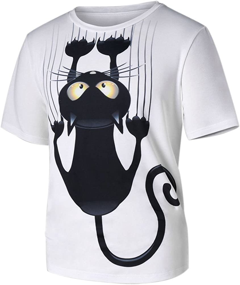 Women's Short Sleeve T-Shirt Cute Cat Pattern Printed Fashion Casual Crewneck T-Shirt Tops Blouse