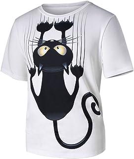 comprar comparacion Camisetas Hombre Lanskirt Camisas de Manga Corta con Cuello Redondo y Estampado Smiley Tops de Verano Elegante Polos de Bá...
