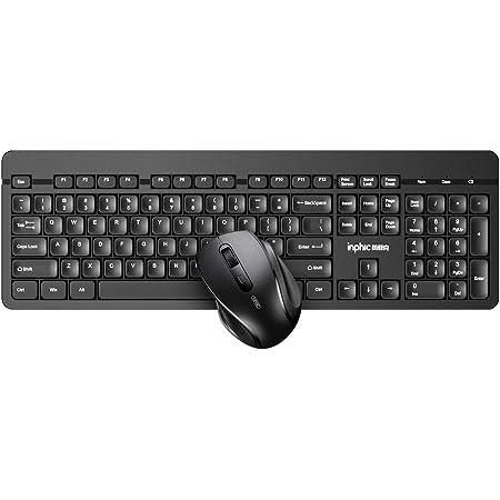 Teclado y ratón inalámbricos, INPHIC 2.4G de tamaño completo ratón inalámbrico y teclado combinado, teclado inalámbrico USB con ratón para ordenador ...