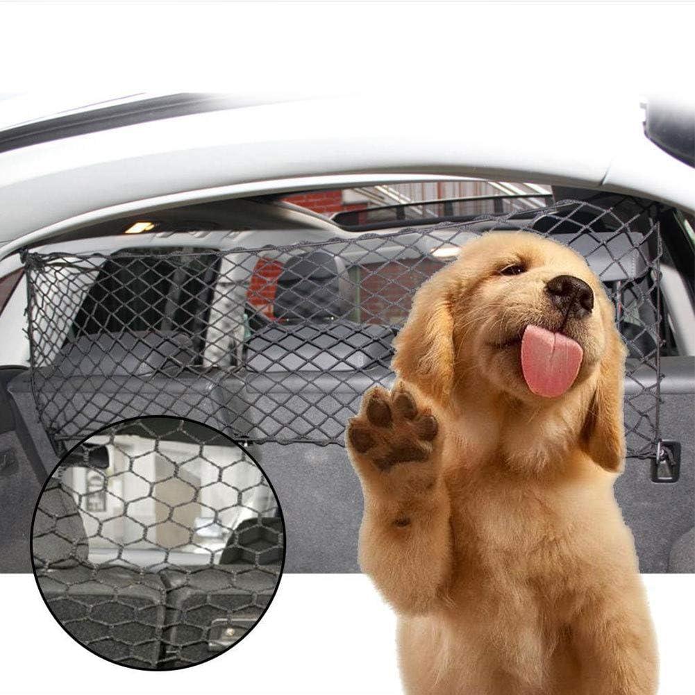 Red de seguridad para mascotas de coche, universal, para viajes, mascotas, perros, gatos, etc. Barreras de malla para vehículos con ganchos (negro)
