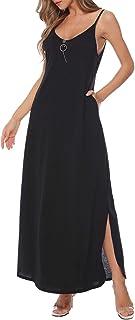 Aibrou Vestito Donna Cotone Lungo Estivo Senza Schienale Scollo a V, Abiti da Spiaggia Lunghi, Vestiti Spiaggia Ragazza Sp...