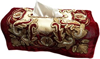 F&L Tissue Box Cover Rectangular Gular Kashmir Fabrics%100 Handmade Kleenex Elite Hand Crafted and Embroidery Designer Cover. (Chic Red)