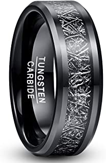 TUNGSTORY 8mm Men's Black Tungsten Carbide Wedding Band Rings with Imitated Meteorite Inlay Beveled Edge Comfort Fit Size 7-12