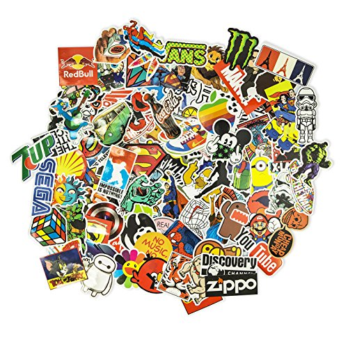 100 Aufkleber/Sticker - Retro-, Graffiti- Style, Reisen, Marken für Skateboard, Snowboard, Koffer, Notebook, Auto, Fahrrad & UVM. - Auto-Dress® (Set-1)