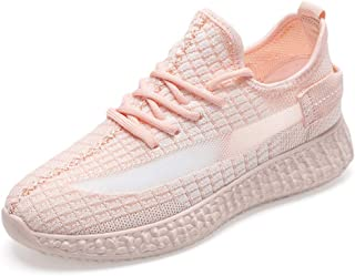 Women's Single Shoes Sports Shoes Casual Shoes Fly Woven Shoes Mesh Running Shoes Lightweight Non-Slip Wear-Resistant,Pink,40