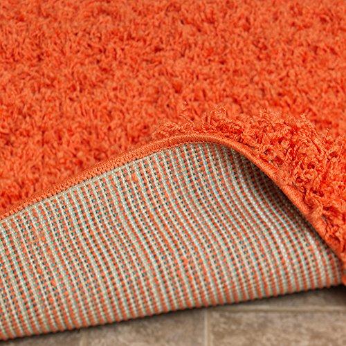"Ottomanson Soft Cozy Color Solid Shag Runner Rug Contemporary Hallway and Kitchen Shag Runner Rug, Orange, 2'7""L X 8'0""W"