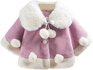 Aivtalk Baby Girls Faux Fur Winter Poncho Cape Pompom Cloak Coat Outwear 6 Months-3 Years