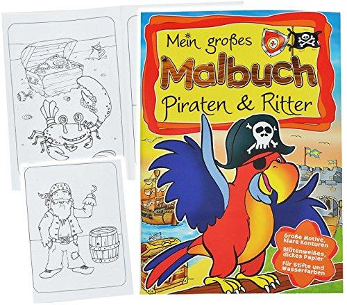 alles-meine.de GmbH großes Malbuch A4 - Piraten & Ritter - Piratenschiff / Pirat / Ritterburgen / Burg / Schatztruhe - Malvorlagen für Jungen - groß Malbücher Schatzsuche zum Aus..