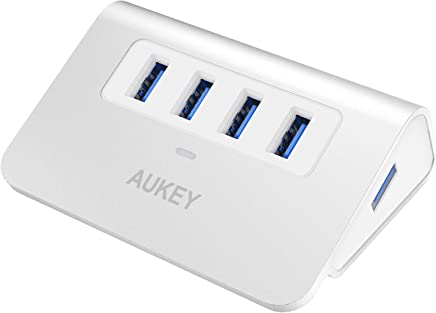 AUKEY Hub USB 3.0 4 Porte SuperSpeed 5Gbps in Alluminio con Cavo USB 3.0 100cm e LED Indicatore USB Hub per Apple MacBook, MacBook Air, MacBook PRO, iMac - Argento