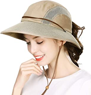 Jeff & Aimy Womens Outdoor Mesh Safari Sun Hat UV Protection Packable Wide Brim Fishing Hat w/Chin Strap & Ponytail Hole