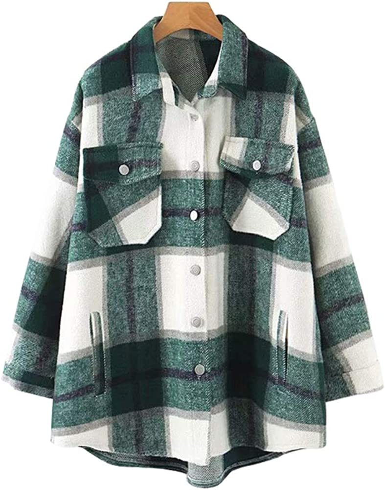 Womens Casual Flannel Wool Blend Plaid Lapel Button Down Long Sleeve Shacket Jacket Coat Winter Loose Oversize Shirts
