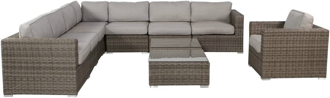 Living Source International Verona Genuine 10 Piece Group Club w Recommendation Seating