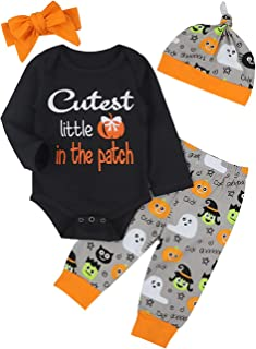 Halloween Newborn Baby Boy Girl Clothes Long Sleeve Romper Top,Pumpkin Pants+ Cute Hat 4Pcs Outfits Set