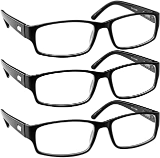 Reading Glasses 2.00 Black 3 Pack Always Have a Timeless Look, Crystal Clear Vision, Comfort Fit with Sure-Flex Spring Hinge Arms & Dura-Tight Screws