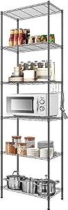DEVO 6-Shelf Storage Shelf Wire Shelving Unit Metal Shelves Heavy Duty, Shelving Unit Storage Adjustable, Standing Shelf Units Storage Rack Organizer for Garage Kitchen,With Side Hooks,22L x 12W x 63H