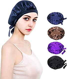 JHuuu 100% Mulberry Silk Sleep Cap Nightcap, Soft Bonnet Night Hat for Women Head Cover Bonnet for Hair Beauty With Elasti...