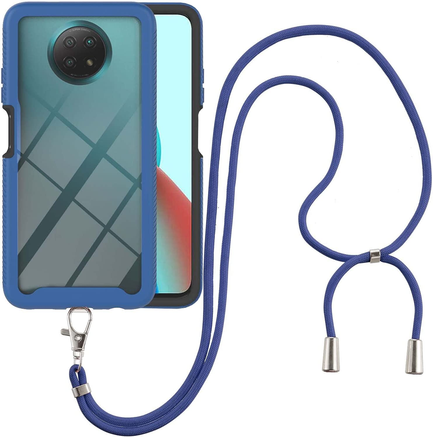 Redmi Note 9T Case, EabHulie Transparent Back No-Slip Bumper with Adjustable Crossbody Lanyard Strap Case, Shockproof Full Body Protection Cover for Xiaomi Redmi Note 9T Blue