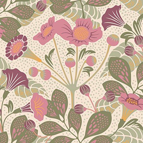 Hanna Werning Wonderland 1474 Vliestapete Hibiskusblumen und -blätter in weinrot, rosé und Grüntönen auf hellbeige