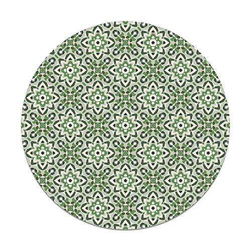 Panorama Alfombra Vinílica Redonda Azulejo Oriental Floreada Verde 100x100 cm - Alfombra Cocina Vinilo - Alfombra Salón Antideslizante e Ignífuga - Alfombras Grandes - Alfombras PVC
