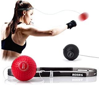 TEKXYZ Boxing Reflex Ball, 2 Difficulty Level Boxing Ball with Headband, Softer Than Tennis Ball,...