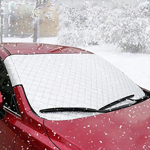 Auto Windschutzscheibe Abdeckung, BODECIN Auto Sided Windschutzscheibe Sonne Schatten Protector von Schnee, Sonne, Eis, Frost, Wind, Staub mit zwei Anti-Diebstahl Ohren Passend für die Meisten Autos