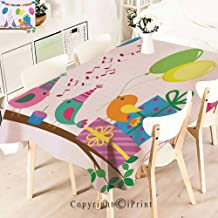 Modern Decor Tablecloth, Kids Singing Birds Happy Birthday Song,Graphic Fusion Artwork, Dining Room Kitchen Rectangular Table Cover,W55 xL71,Multicolor