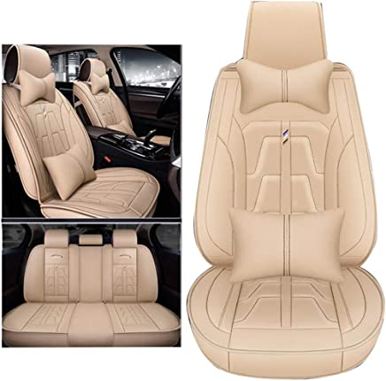 9 Pieces ADHW Car Seat Cover Sets,Universal Leather Waterproof Full Car Front And Rear Seat Cover Protectors Nonslip Set for 5-Seats color : Beige