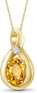 Citrine and Accent White Diamond 14k Gold Over Silver Pendant Jewelexcess 1.10 Carat T.G.W