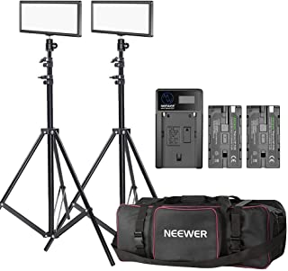 Neewer 2-pack T120 On-camera LED Video Light with Lighting Kit:(2)Bi-color Dimmable LED Panel, (2)190cm Light Stand, (2)Li...
